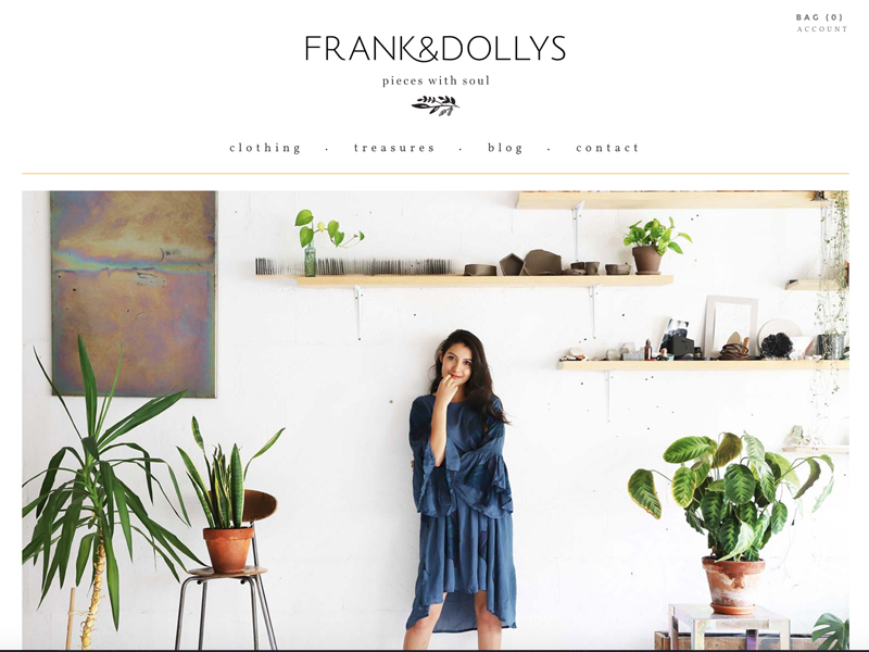 Frank & Dolly's website design Studio Mimi Moon