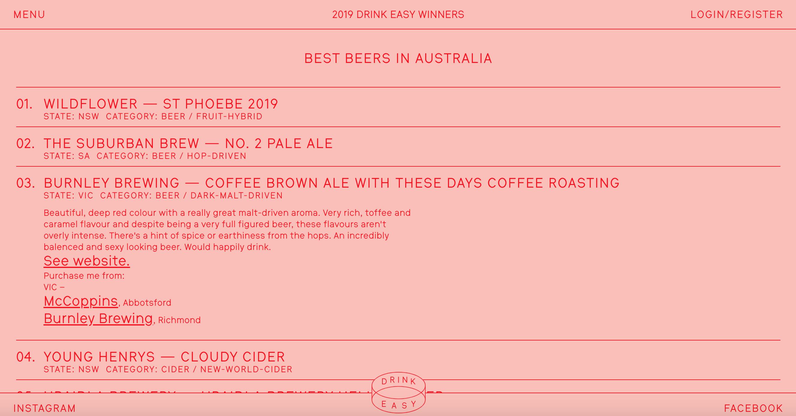 Drink Easy Awards 2019 Winner Burnley Brewing Design Easy on the Eye Awards