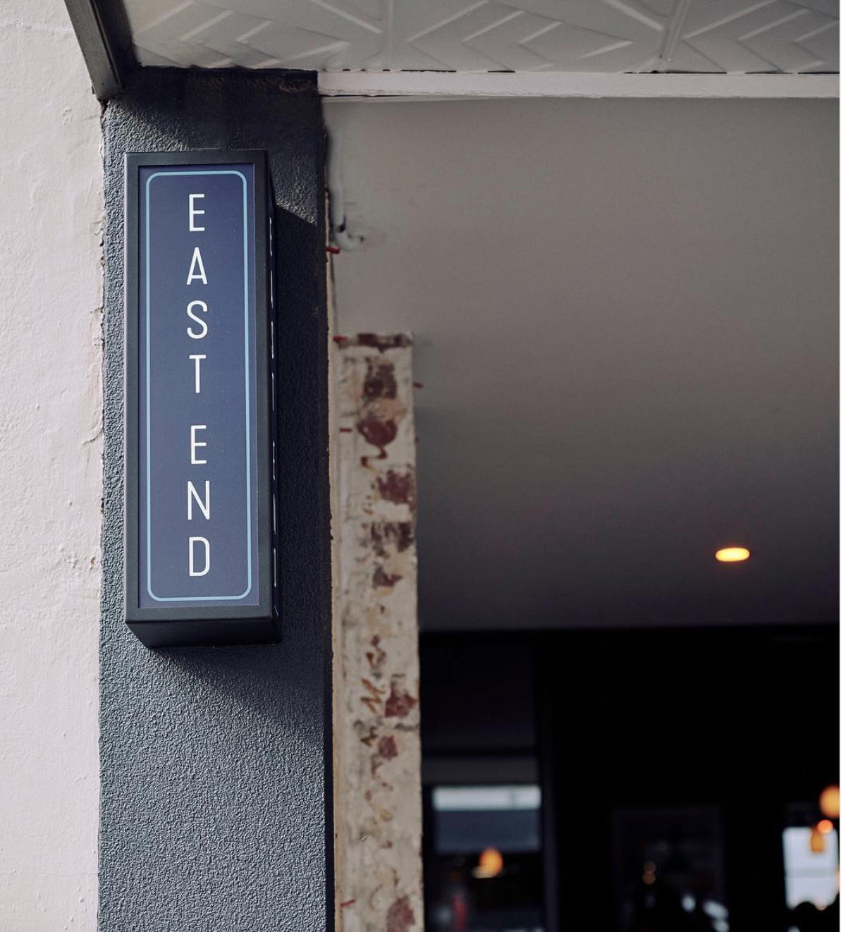 East End Wine Bar Branding, signage, design by Studio Mimi Moon MAX GAWN OWNER