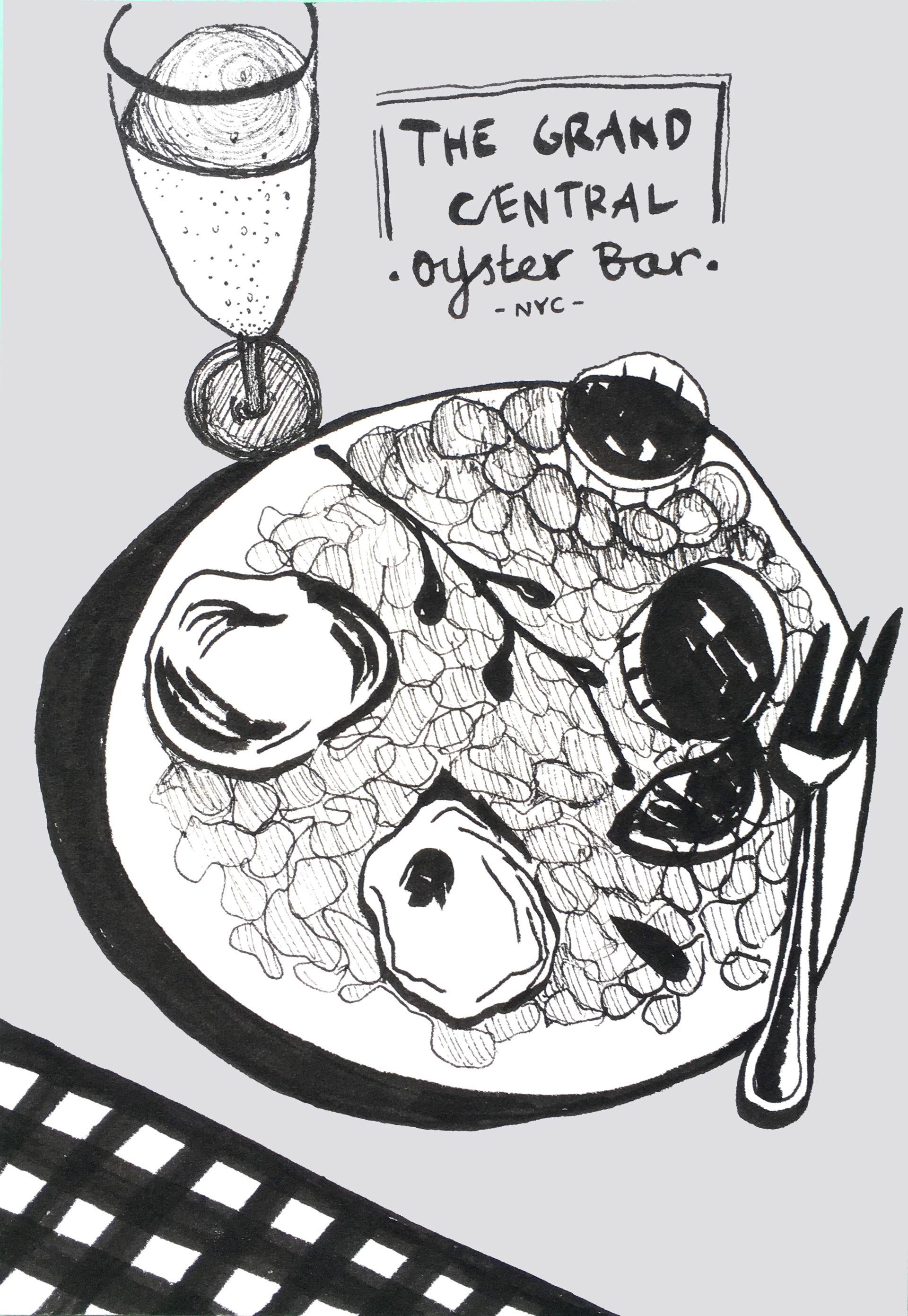 Illustration Studio Mimi Moon Miriam McWilliam NYC Sketches - Grand Central Oyster Bar